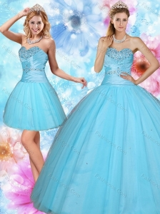2015 Discount Sweetheart Beaded Quinceanera Dress in Baby Blue