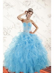 2015 Elegant Baby Blue Quince Dresses with Appliques and Ruffles