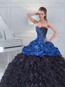 2015 Modest Beading and Pick Ups Blue and Black Sweetheart Quince Dresses