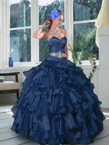 2015 New Style Beading and Ruffles Quince Dresses in Navy Blue