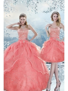 2015 New Style Beading Quinceanera Dresses in Watermelon