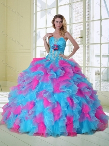 2015 New Style Multi Color Quinceanera Dress with Appliques and Ruffles
