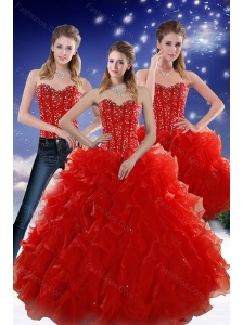 2015 Perfect Red Sweetheart Quince Dresses with Beading and Ruffles
