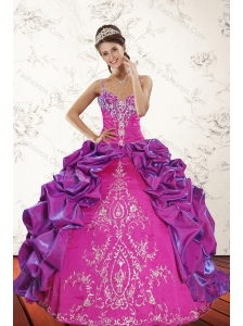 2015 Sweep Train Multi Color Quince Dresses with Embroidery