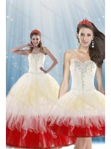 2015 Unique Multi-Color Quince Dresses with Beading