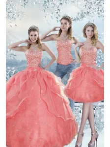 2015 Unique Watermelon Quinceanera Dresses with Beading