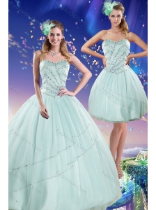 Beautiful 2015 Apple Green Strapless Quinceanera Dresses with Beading