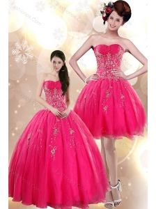 Beautiful Strapless Floor Length Quince Dresses with Appliques in Hot Pink