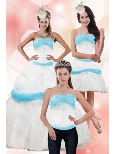 Elegant Strapless Ball Gown Quinceanera Dress with Appliques for 2015
