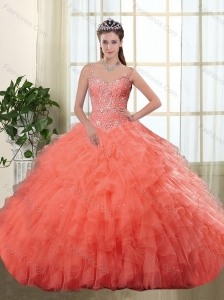 Gorgeous Spaghetti Straps Orange Red Quinceanera Dresses with Beading and Ruffles
