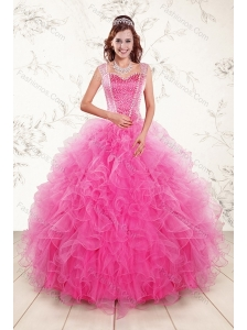 Popular 2015 Sweetheart Hot Pink Quince Gown with Beading and Ruffles
