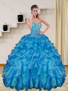 Popular Beading and Ruffles Baby Blue Sweet 15 Dresses for 2015