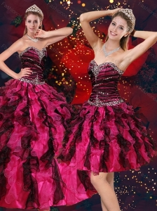 Pretty Multi Color Sweetheart Quince Dresses with Beading and Ruffles