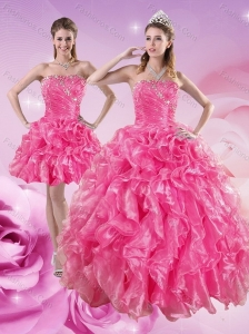 Sturning Hot Pink Quince Dresses with Beading and Ruffles for 2015