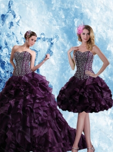 Sweetheart Burgundy Quinceanera Dress with Ruffles and Beading