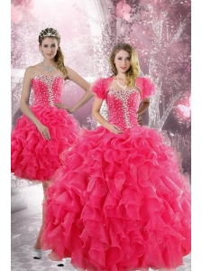 Trendy 2015 Hot Pink Quinceanera Dresses with Beading and Ruffles