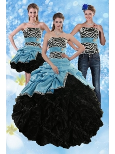 Zebra Print Strapless Multi Color Sweet 15 Dresses with Ruffles and Pick Ups