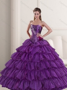 2015 Affordable Purple Quinceanera Dress with Ruffled Layers and Beading