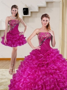 2015 Detachable Fuchsia Quince Dress with Beading and Ruffled Layers