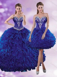 2015 Elegant Royal Blue Quinceanera Dresses with Beading and Ruffles