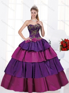 2015 Exclusive Sweetheart Multi Color Bowknot Quinceanera Dresses
