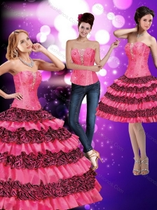 2015 Modest Printed Sweetheart Ruffled Quinceanera Dresses in Hot Pink