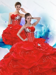 2015 Pretty Sweetheart Red Quince Dresses with Beading and Pick Ups