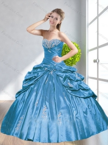 2015 Romantic Baby Blue Quinceanera Dresses with Beading and Pick Ups