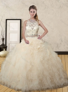 Beautiful Champagne Scoop Quinceanera Dress with Beading and Ruffles