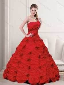 Beautiful Red Strapless Quinceanera Dresses with Beading and Hand Made Flower for 2015