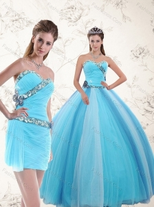 Elegant 2015 Sweetheart Light Blue Quinceanera Dresses with Ruching and Appliques