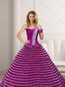 Fashionable Strapless 2015 Fuchsia Quinceanera Dresses with Ruffled Layers and Beading