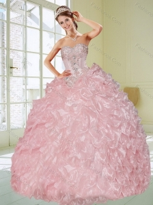 Luxurious Baby Pink Quinceanera Dresses with Appliques and Ruffles for 2015