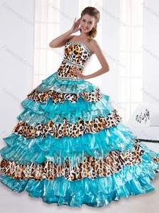 Modest 2015 Leopard Printed Sweetheart Beaded Aqua Blue Quinceanera Dresses with Brush Train