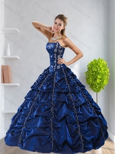 Pretty Navy Blue 2015 Quinceanera Dress with Pick Ups and Beading