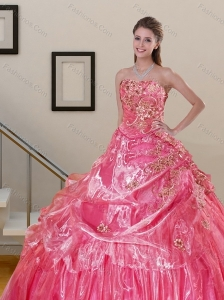 Pretty Watermelon 2015 Quinceanera Dress with Appliques and Pick Ups