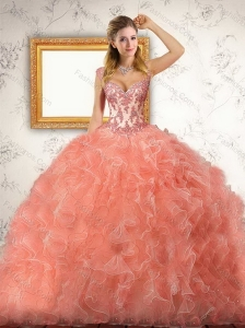 Unique Orange Red Quinceanera Dress with Appliques and Ruffles