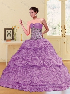 2015 Classical Lilac Sweetheart Quinceanera Dresses with Beading and Pick Ups