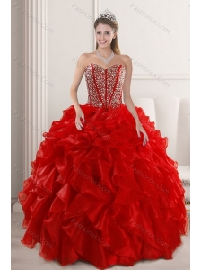 2015 Fashionable Red Quinceanera Dresses with Beading and Ruffles