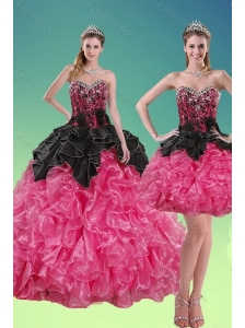 2015 New Style Beading and Ruffles Quince Dresses in Multi Color