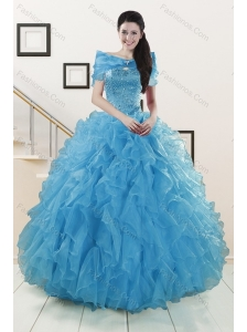 2015 New Style Strapless Sweet 15 Dresses with Beading and Ruffles