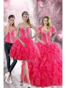 2015 Pretty Hot Pink Sweetheart Sweet 15 Dresses with Beading and Ruffles
