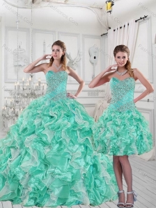 2015 Pretty Sweetheart Quinceanera Dresses in Apple Green with Ruffles and Beading