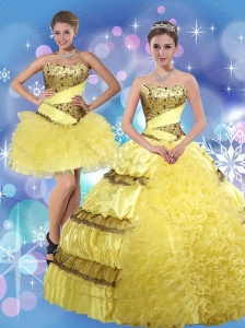 2015 Strapless Yellow Quinceanera Dresses with Beading and Ruffles