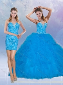 2015 Sweetheart Sequined Teal Quinceanera Dresses with Ruffles
