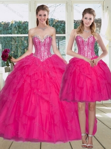 2015 Top Seller Hot Pink Sweet 15 Dress with Ruffles and Beading