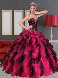 2015 Unique Sweetheart  Multi Color Quinceanera Dress with Beading and Ruffles