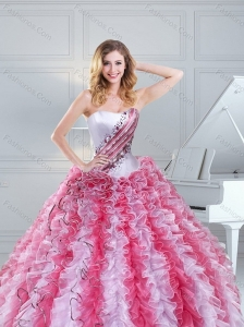 Cute Multi Color Strapless Quinceanera Dresses with Beading and Ruffles for 2015
