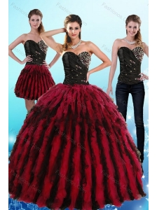 Flirting Multi Color Sweetheart Sweet 16 Dresses with Ruffles and Beading