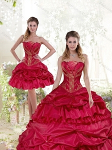 Sophisticated Beading and Pick Ups Quinceanera Dress in Wine Red for 2015